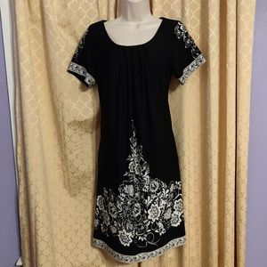 Forever black with floral pattern dress size M